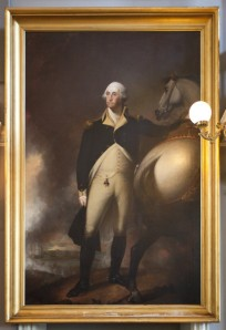 The closest I'll ever come to making fun of Washington - portrait in Faneuil Hall, Boston