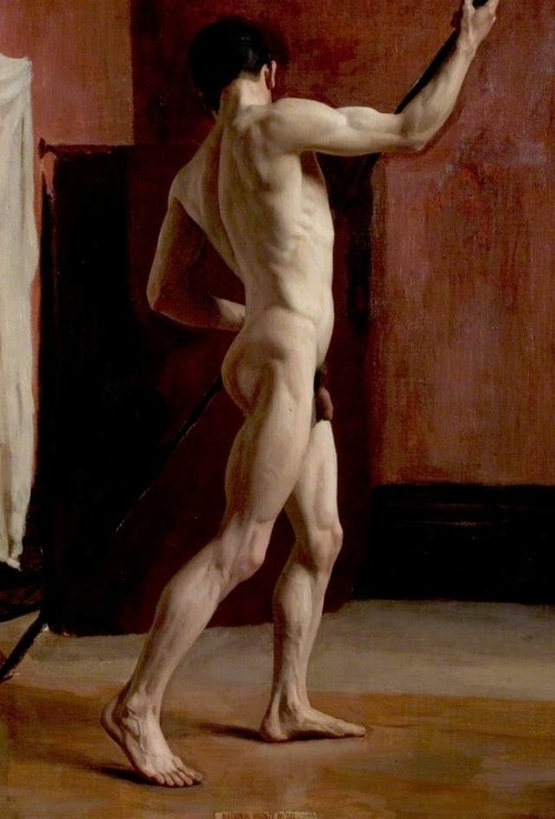 """Standing Male Nude""Harold Knight, 1898--Nottingham Castle Museum and Art Gallery"