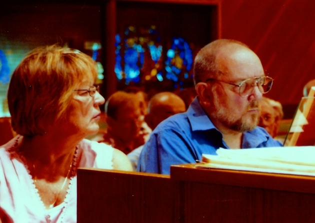 About 2005 playing an organ program in Fresno, CA, with my sister turning pages. Some spirituality in my playing, finally.