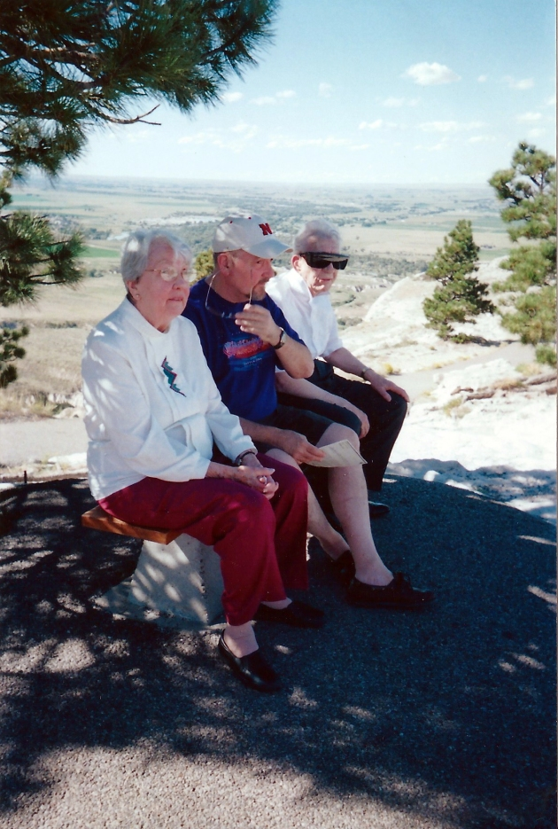 2001 With my parents at the top of Scotts Bluff, all of us remembering the '50s.