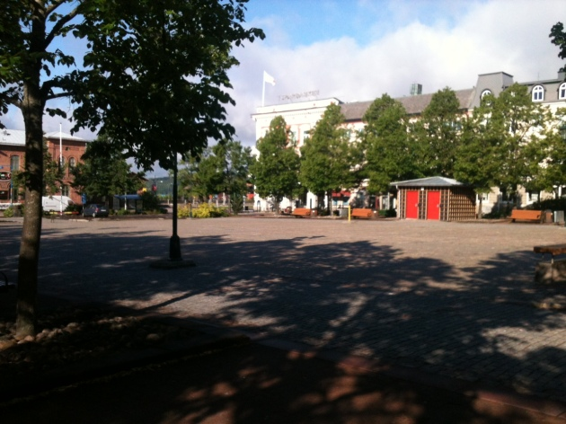 Bustling activity of Arvika Town Square (5:30 AM)