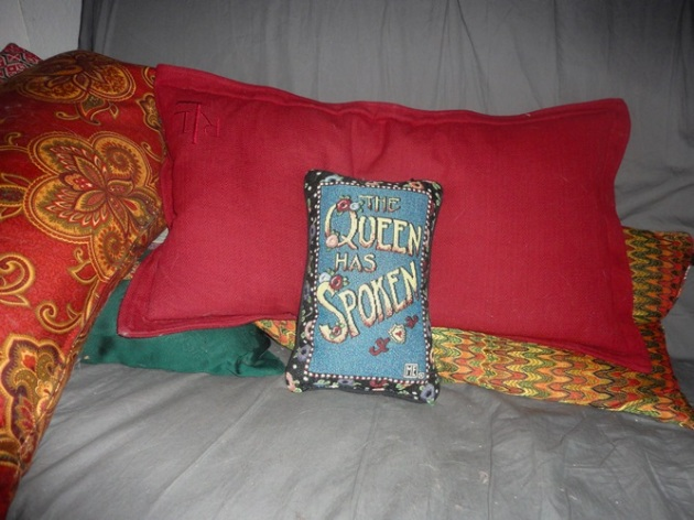 Close up of my sofa (See Nov. 8 post). Thanks to my sister. Note the Ralph Luren pillow.