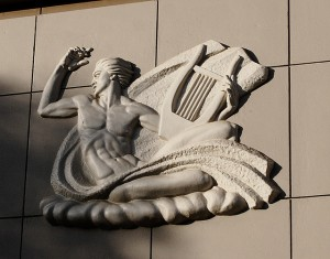 A frieze over the door of Watchorn Hall.  If I ever knew what it is, I've forgotten.