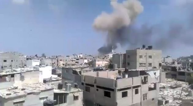 An explosion rocks the Gaza Strip on August 6, 2015, killing at least four. The cause was not immediately known. Screen capture, Ebrahim Jihad/Yousif Facebook