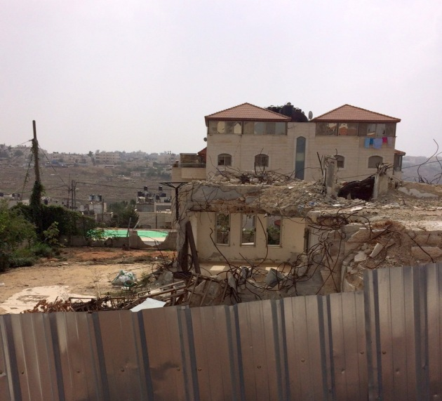 The Israeli demolition of a home in the Shufat  Palestinian refugee camp in West Jerusalem.